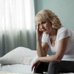 Woman dealing with bad sleep